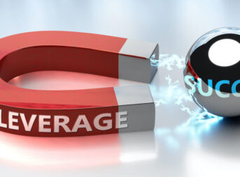Leverage helps achieving success - pictured as word Leverage and a magnet, to symbolize that Leverage attracts success in life and business, 3d illustration